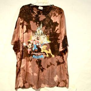 Vintage Acid Washed 3xL Disney World Shirt Tie Dye